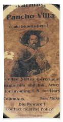 Wanted Poster For Pancho Villa After Columbus New Mexico Raid  Beach Towel