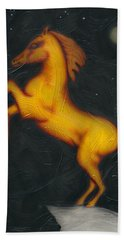 Beach Towel featuring the painting War Horse. by Kenneth Clarke