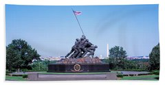War Memorial With Washington Monument Beach Towel by Panoramic Images