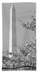 Washington Monument Amidst The Cherry Blossoms Beach Sheet