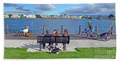 Beach Towel featuring the photograph Watching The Bikes Go By At Congressman Leo Ryan's Memorial Park by Jim Fitzpatrick