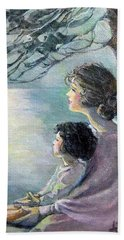 Beach Towel featuring the painting Watching The Moon by Donna Tucker