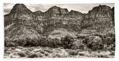 Beach Towel featuring the photograph Watchman Trail In Sepia - Zion by Tammy Wetzel