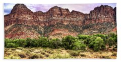 Beach Towel featuring the photograph Watchman Trail - Zion by Tammy Wetzel