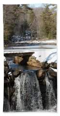 Beach Towel featuring the photograph Water Over The Dam by Mim White