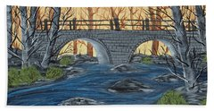 Beach Towel featuring the painting Water Under The Bridge by Brenda Brown