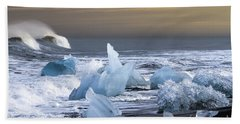 Beach Sheet featuring the photograph Water Versus Ice by Gunnar Orn Arnason