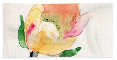 Watercolor Illustration With Beautiful Flower  Beach Towel