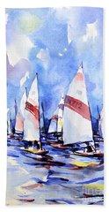 Watercolor Of Scow Boats Racing Torch Lake Mi Beach Towel