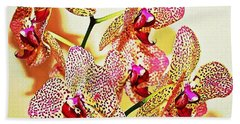 Beach Towel featuring the photograph Watercolor Orchid Shadows by Judy Palkimas