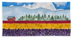 Watercolor Painting Landscape Of Skagit Valley Tulip Fields Art Beach Towel
