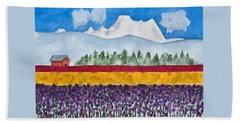 Watercolor Painting Landscape Of Skagit Valley Tulip Fields Art Beach Towel