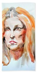 Beach Towel featuring the painting Watercolor Portrait Of A Mad Redhead by Greta Corens