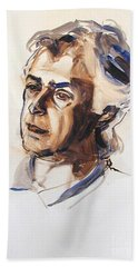 Beach Towel featuring the painting Watercolor Portrait Sketch Of A Man In Monochrome by Greta Corens