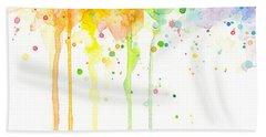Watercolor Rainbow Beach Towel