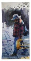 Watercolor Sketch Beach Towel