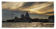 Beach Towel featuring the photograph Watercolor Sky Over Venice Italy by Georgia Mizuleva