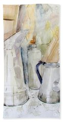 Watercolor Still Life Of White Cans Beach Towel