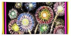Watercolorful Fireworks Beach Towel