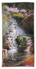 Waterfall Garden Beach Towel