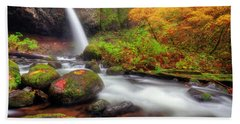 Waterfall With Autumn Colors Beach Towel