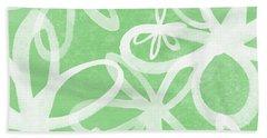 Waterflowers- Green And White Beach Towel