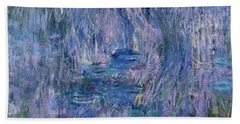 Waterlilies And Reflections Of A Willow Tree Beach Towel