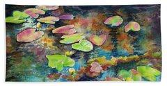 Waterlilies In Shadow Beach Towel by Kathy Braud