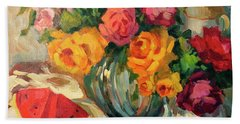Watermelon And Roses Beach Towel by Diane McClary