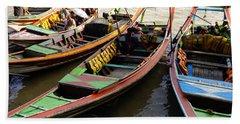 Watertaxis At The Yangon River Nan Thida Ferry Terminal Yangon Myanmar Beach Towel