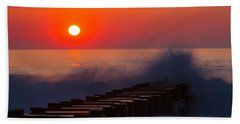 Breaking Wave At Sunrise Beach Towel