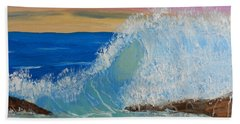 Wave At Sunrise Beach Towel