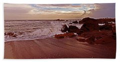 Waves Break Hands Shake Beach Towel by Lydia Holly