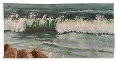 Waves Crashing Beach Sheet by Pamela  Meredith