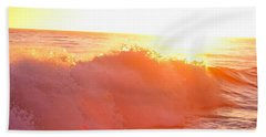 Waves In Sunset Beach Towel