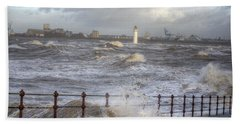 Waves On The Slipway Beach Towel