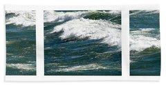Waves Triptych Ll Beach Towel