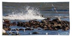 Waves Wind And Whitecaps Beach Sheet by John Telfer