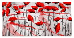 We Remember- Red Poppies Impressionist Painting Beach Towel