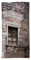 Weathered Wooden Church Doors Beach Sheet by Lynn Palmer