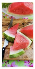 Wedges Of Watermelon And Knife On A Wooden Board Beach Towel