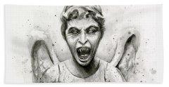 Weeping Angel Watercolor - Don't Blink Beach Towel