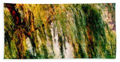 Weeping Willow Tree Painterly Monet Impressionist Dreams Beach Towel by Carol F Austin