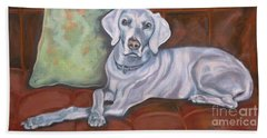 Weimaraner Reclining Beach Sheet