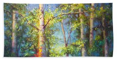 Welcome Home - Birch And Aspen Trees Beach Towel