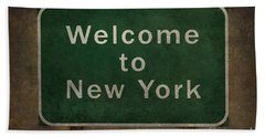 Welcome To New York Highway Road Side Sign Beach Towel