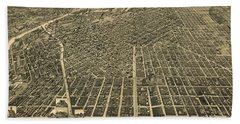 Wellge's Birdseye Map Of Denver Colorado - 1889 Beach Towel