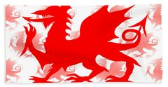 Welsh Dragon Beach Sheet by Barbara Moignard