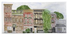 West 11th St In Greenwich Village Beach Towel