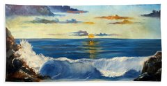 Beach Towel featuring the painting West Coast Sunset by Lee Piper